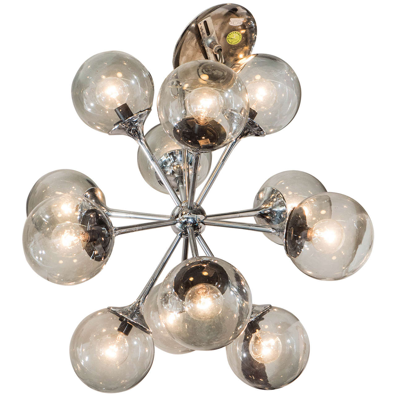 midcentury chrome and smoked bubble glass sputnik chandelier by lightolier . midcentury chrome and smoked bubble glass sputnik chandelier by