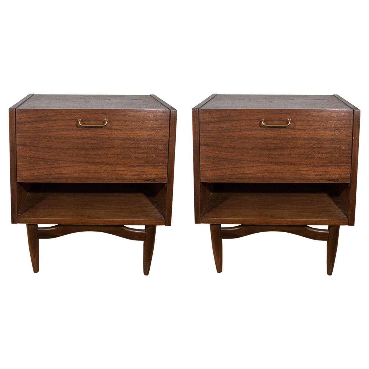 Midcentury pair of wooden nightstands by american of for American martinsville bedroom furniture