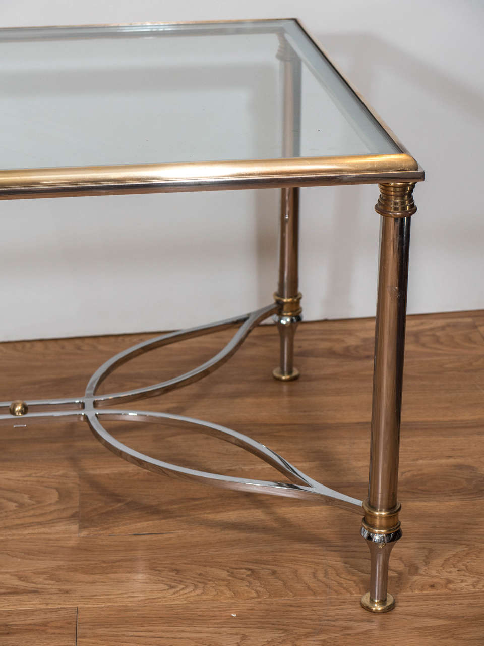 1970s Brass Rectangular Coffee And Cocktail Table With Elegant Chrome Base For Sale At 1stdibs