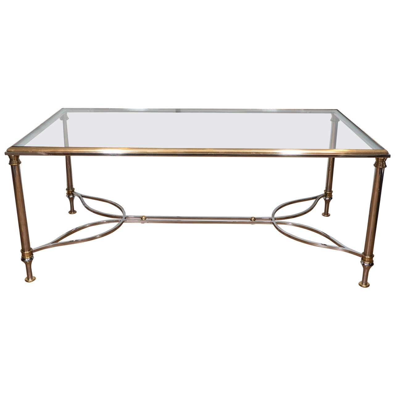 1970s Brass Rectangular Coffee and Cocktail Table with Elegant Chrome Base