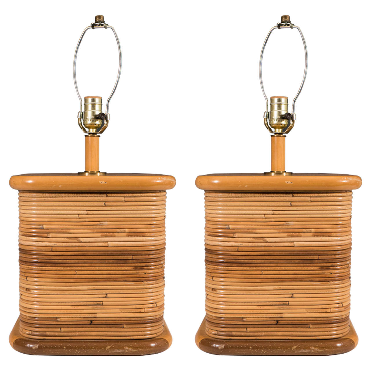 Midcentury pair of wood and rattan table lamps for sale at 1stdibs midcentury pair of wood and rattan table lamps for sale aloadofball Choice Image