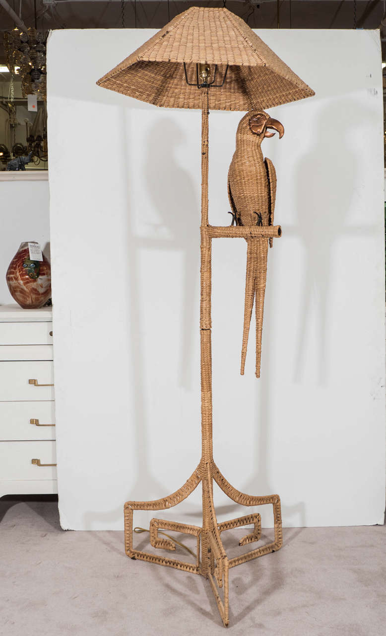 Vintage Mario Lopez Parrot Floor Lamp Wrapped in Reed with Copper ...