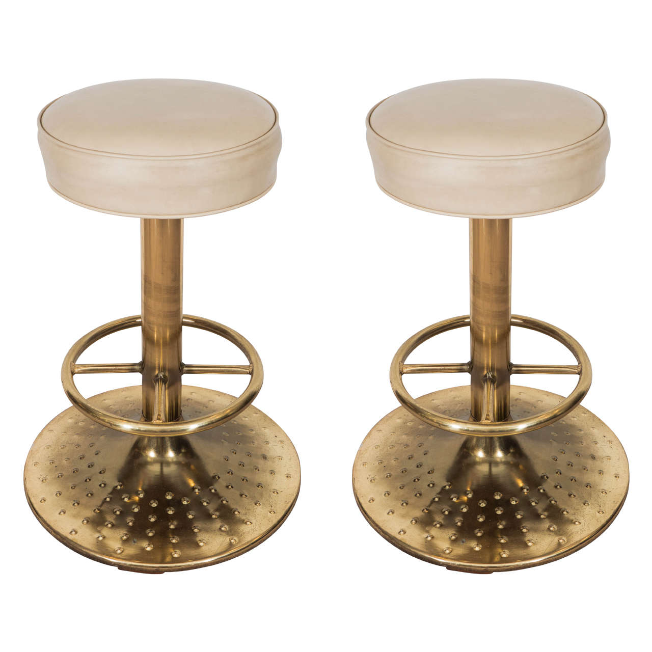 Great Modernistic Midcentury Pair of Brass Bar Stools at  : X from 1stdibs.com size 1280 x 1280 jpeg 97kB
