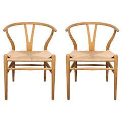 Pair of Wishbone Chairs by Hans J. Wegner for Carl Hansen