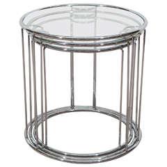 Midcentury Set of Three Milo Baughman Chrome and Glass Nesting Tables