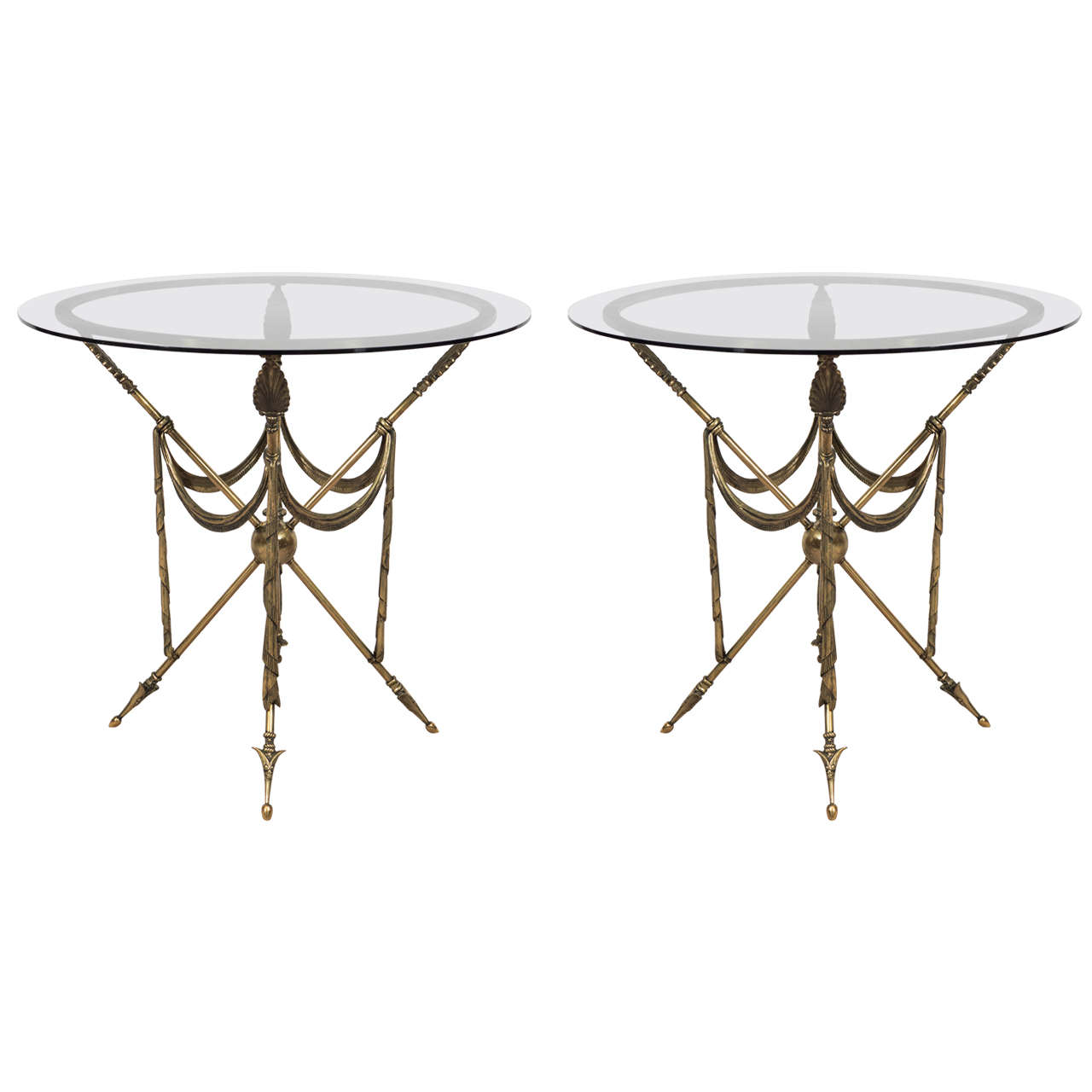 Mid-Century Pair of French Crossed Arrow Brass End or Side Tables For Sale