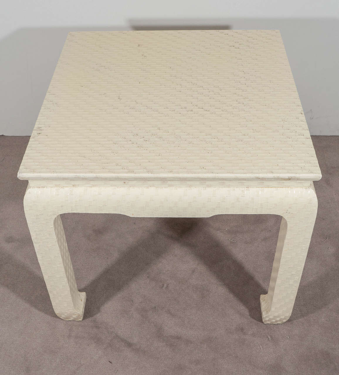 Pair Of Baker Side Tables In Lacquered Grasscloth 3
