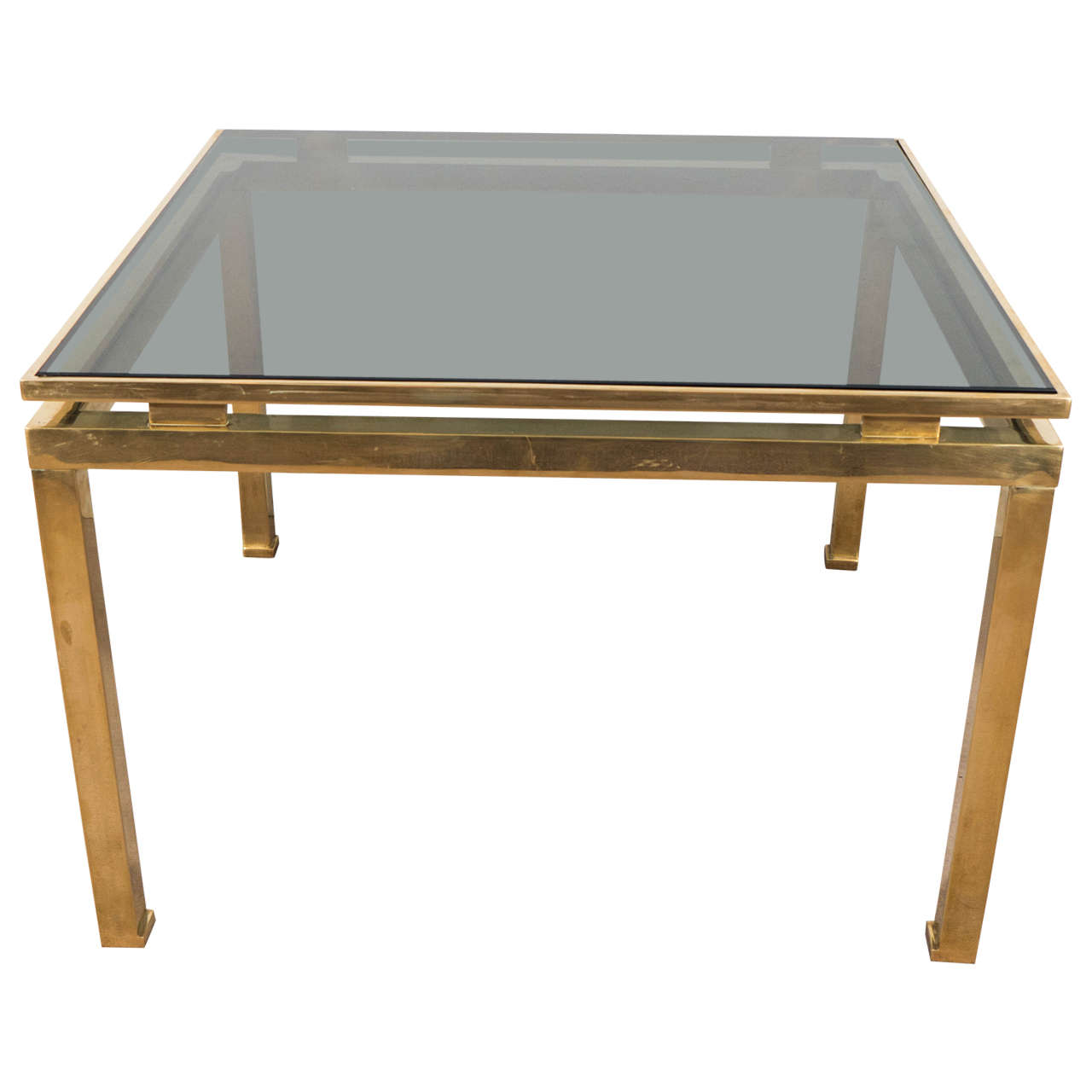 Mid-Century Guy Lefevre for Maison Jansen Brass and Glass Side or End Table