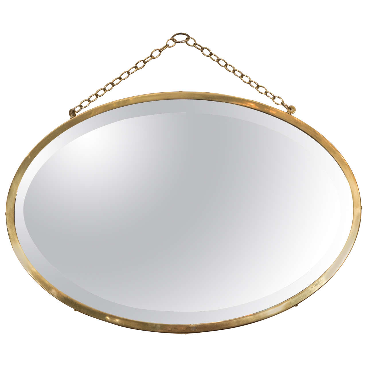 Midcentury oval brass framed beveled glass wall mirror at for Glass mirrors for walls