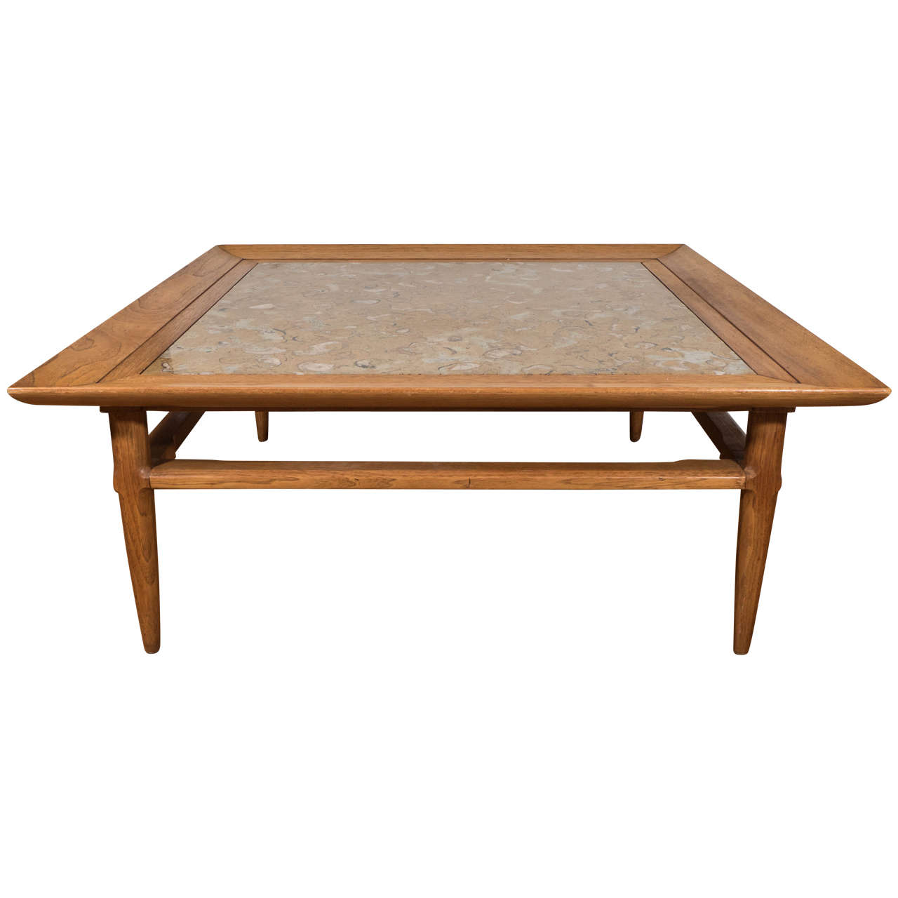 Mid Century Marble-Top Cocktail Or Coffee Table After T.H