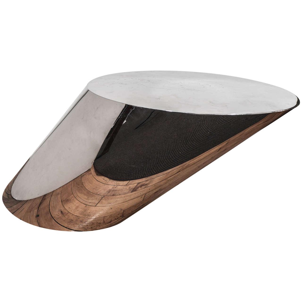 Midcentury Large J. Wade Beam for Brueton Polished Steel Zephyr Table