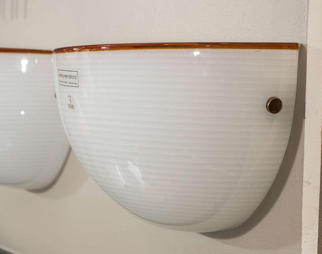 Late 20th Century Set of Three Murano Glass Half Moon Wall Sconces at 1stdibs