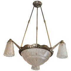 French Art Deco Chandelier Signed by Mueller Frères