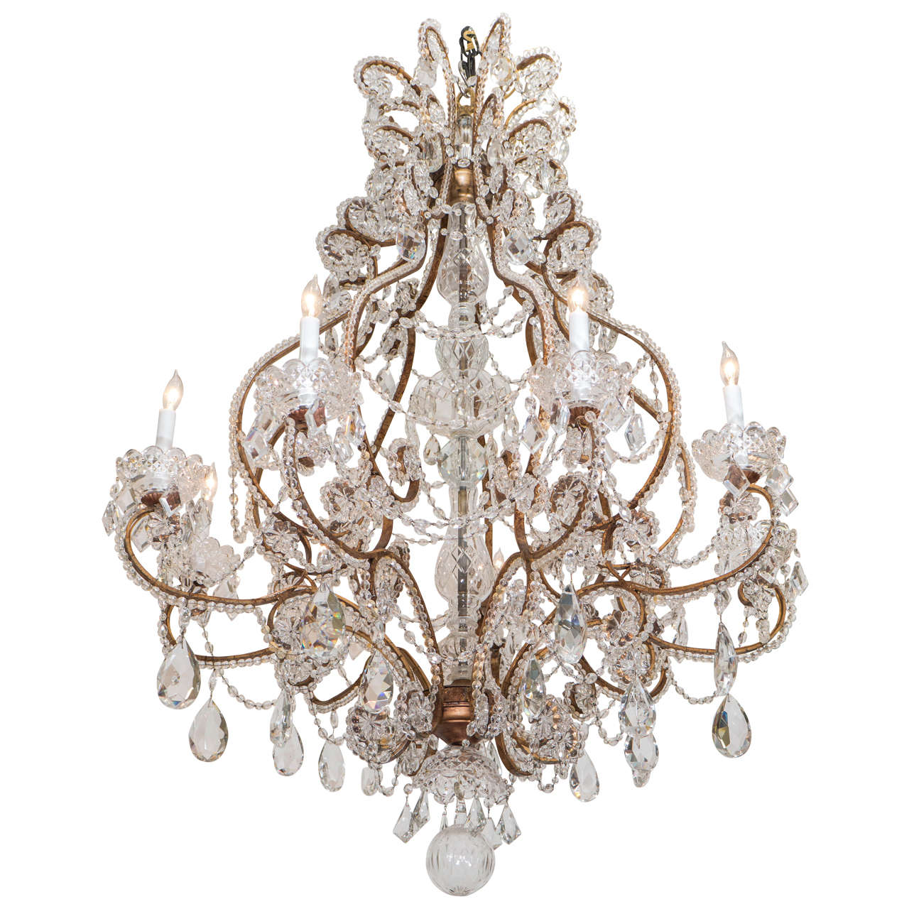Midcentury Italian Nine-Light Brass and Crystal Chandelier