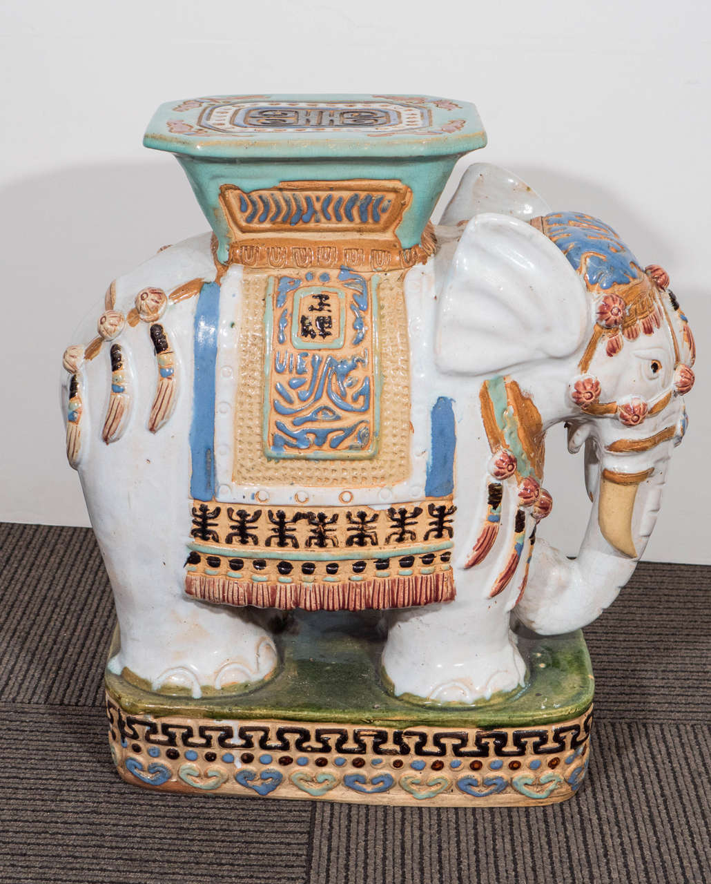 Mid Century Pair Of Decorative Ceramic Elephant Garden