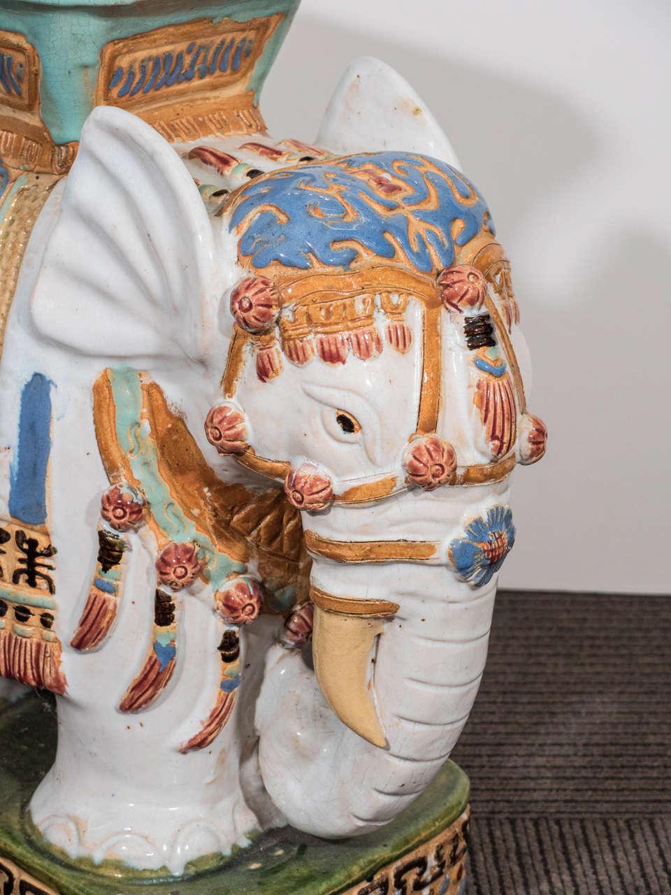 Mid Century Modern Mid Century Pair Of Decorative Ceramic Elephant Garden  Stools For Sale