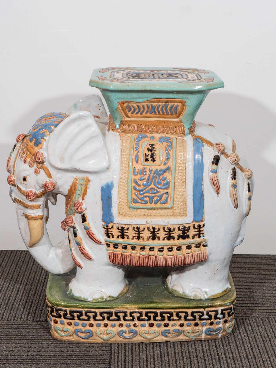 Mid Century Pair Of Decorative Ceramic Elephant Garden Stools For Sale 1
