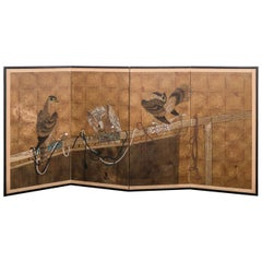 Early 20th Century Japanese Four-Panel Screen with Falcon Design
