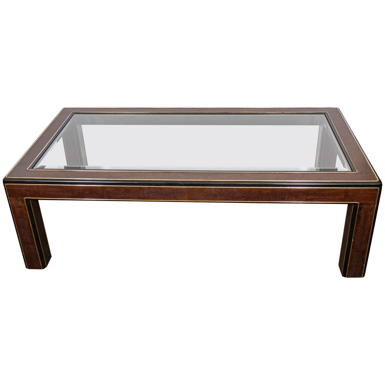Midcentury Bernhard Rohne Acid Etched Brass Coffee Table for Mastercraft