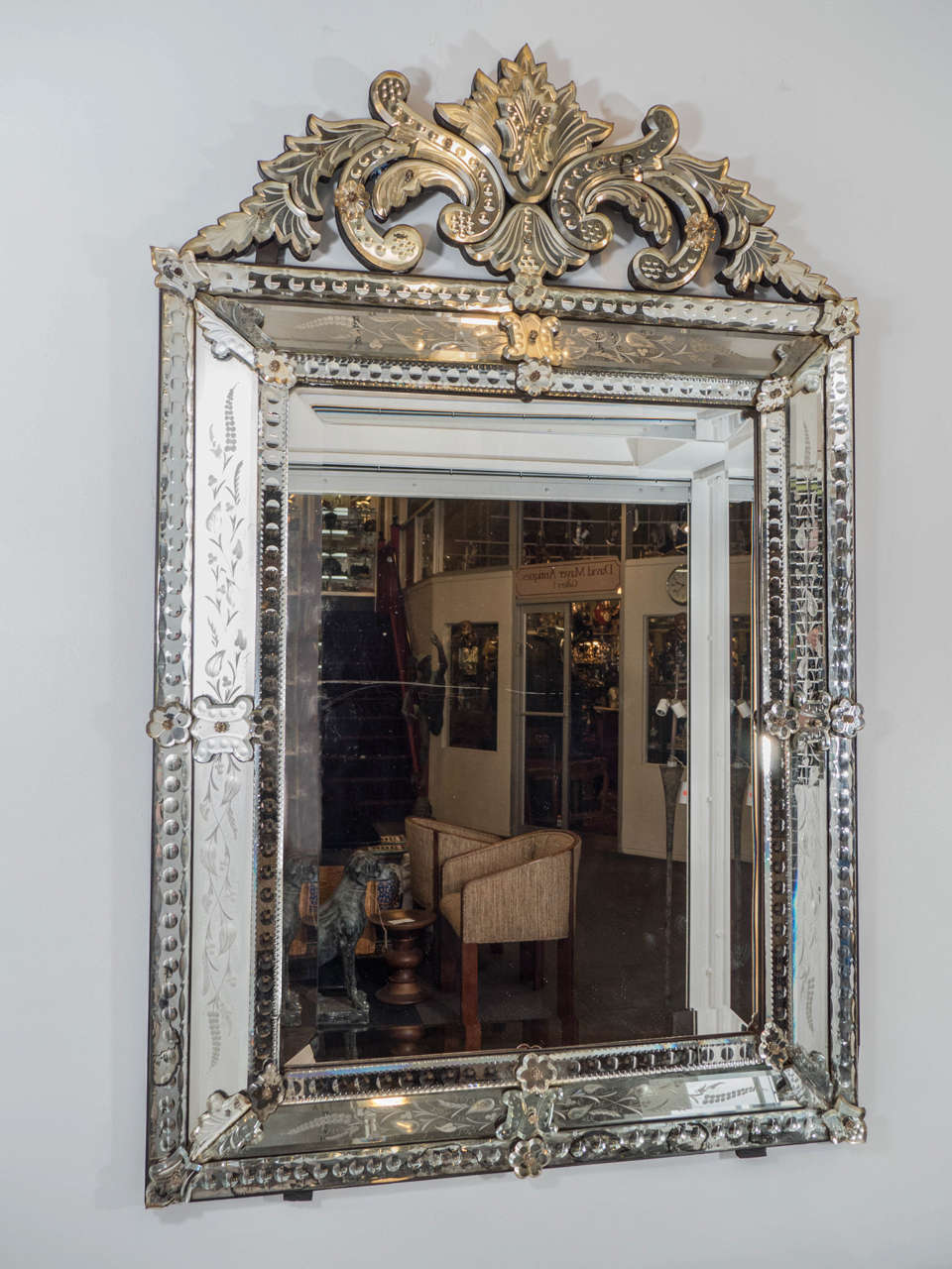 Vintage Venetian Beveled Wall Mirror With Reverse Etched Floral Detail At 1stdibs