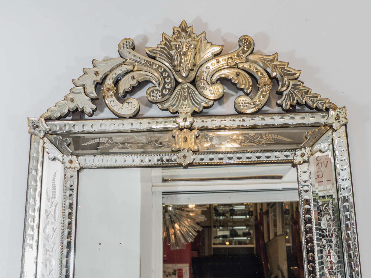 Vintage Venetian Beveled Wall Mirror With Reverse Etched Fl Detail In Good Condition For
