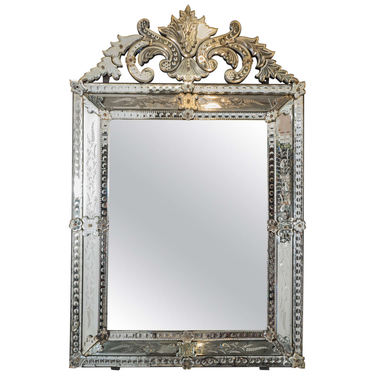 Vintage Venetian Beveled Wall Mirror With Reverse Etched Fl Detail For