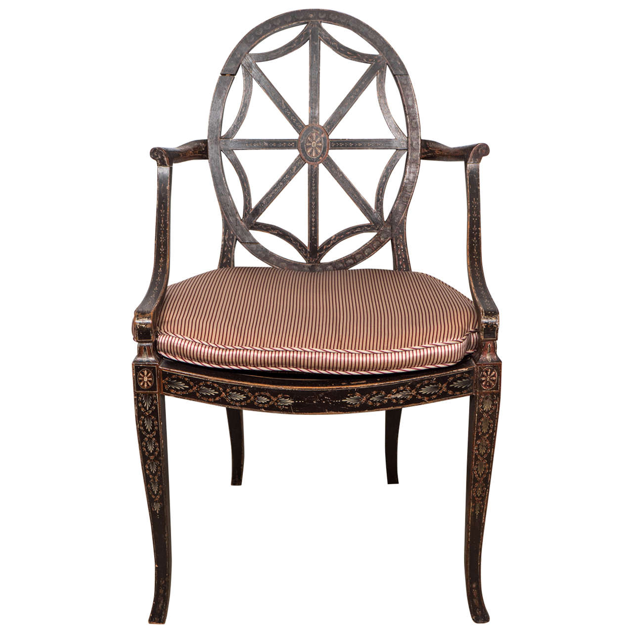Antique George Iii Painted And Decorated Armchair In The