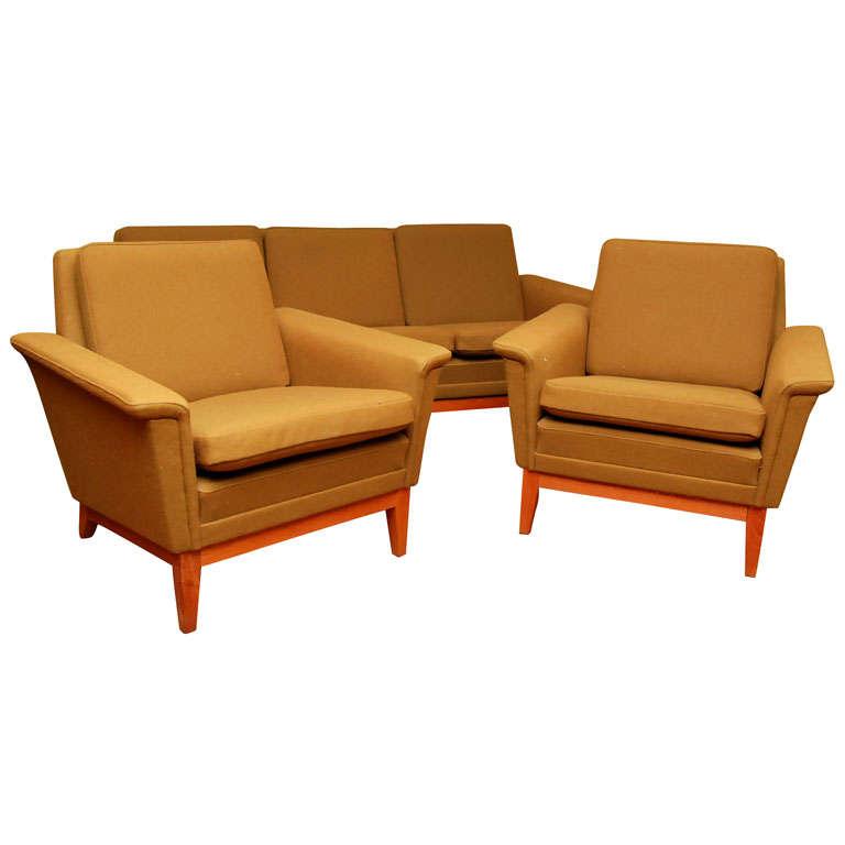 Danish Modern Olive Green Sofa Set At 1stdibs