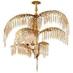 Second Quarter Century Highly Stylized Gilt Metal Chandelier