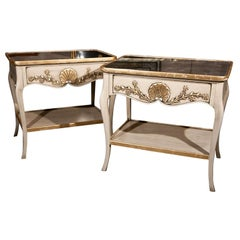 Pair of Louis XV Style Painted End Tables