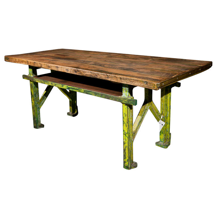 Vintage French Industrial Dining Table at 1stdibs