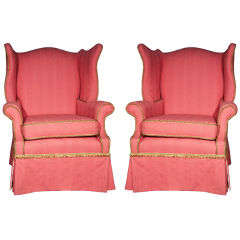 Pair of Upholstered Wing Chairs