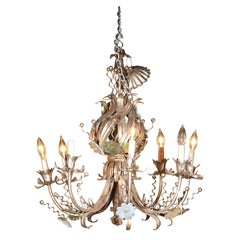 French Silver-Gilt Eight-Arm Tole Chandelier