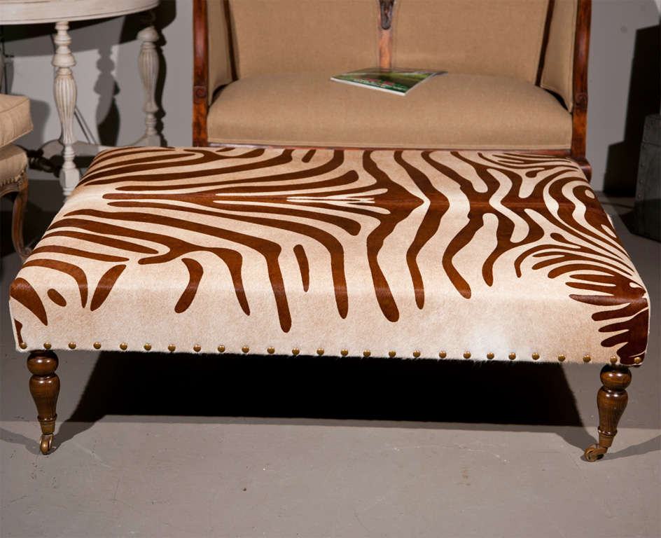 American Cowhide Ottoman Coffee Table For