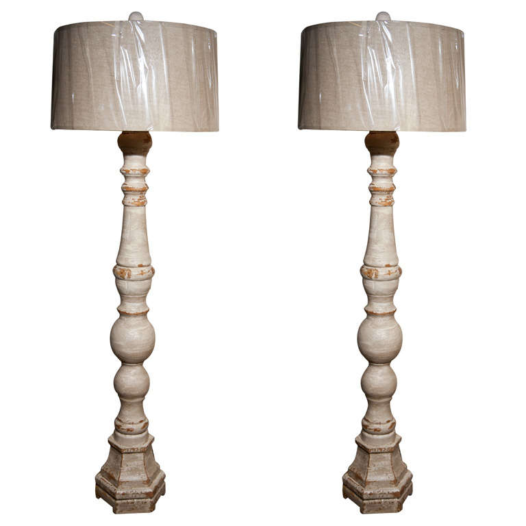 Pair of Swedish Tall Standing Lamps with Shades