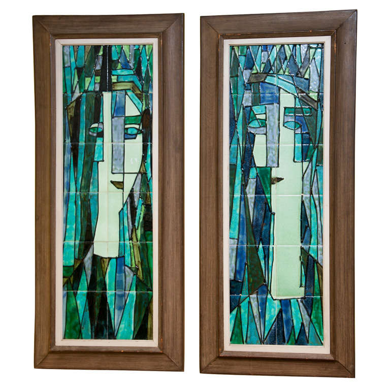 Art Deco Wall Panels: Pair Of Art Deco Tiled Wall Panels By Harris Strong At 1stdibs