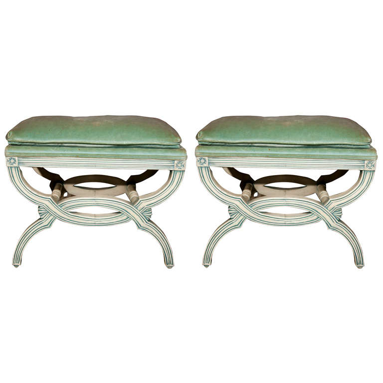 Pair Of Hollywood Regency Style Benches At 1stdibs