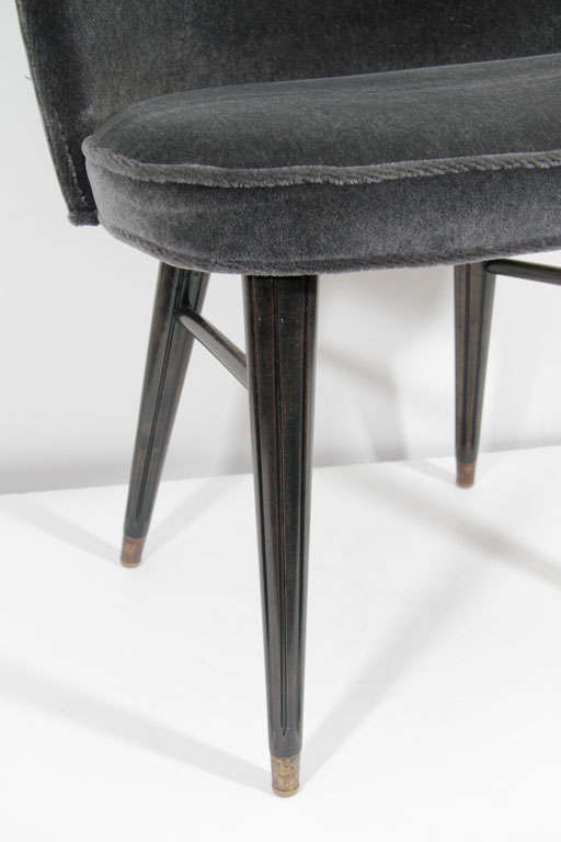 Modernist Mid-Century Curved Back Mohair Vanity Stool image 6