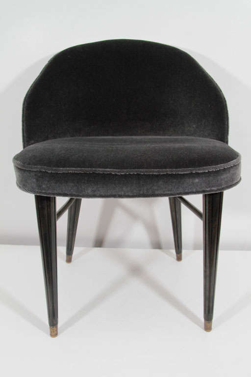 Modernist Mid-Century Curved Back Mohair Vanity Stool image 3
