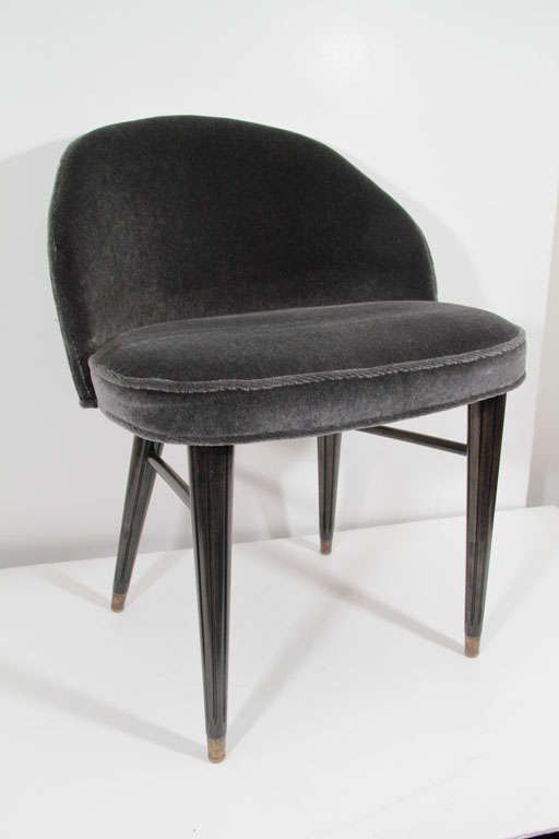 Modernist Mid-Century Curved Back Mohair Vanity Stool image 2