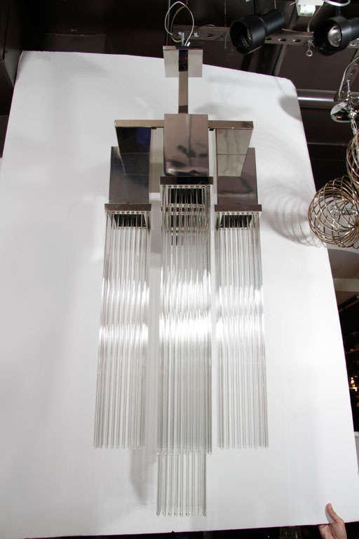 1970s Modernist Skyscraper Glass Rod Chandelier By