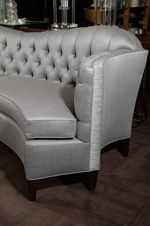 Glamorous 1940s Hollywood Curved Back Sofa For Sale 7