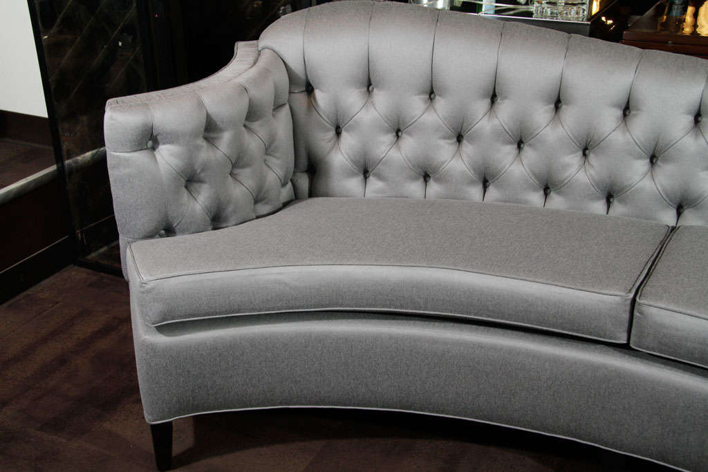 Glamorous 1940s Hollywood Curved Back Sofa For Sale 2