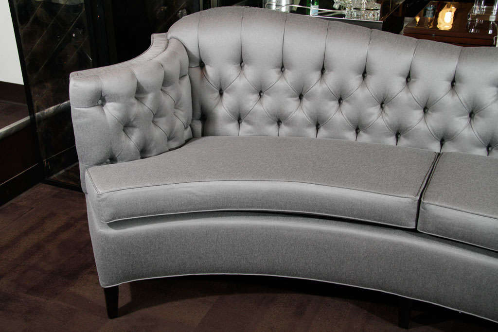 Glamorous 1940s Hollywood Curved Back Sofa For Sale 3