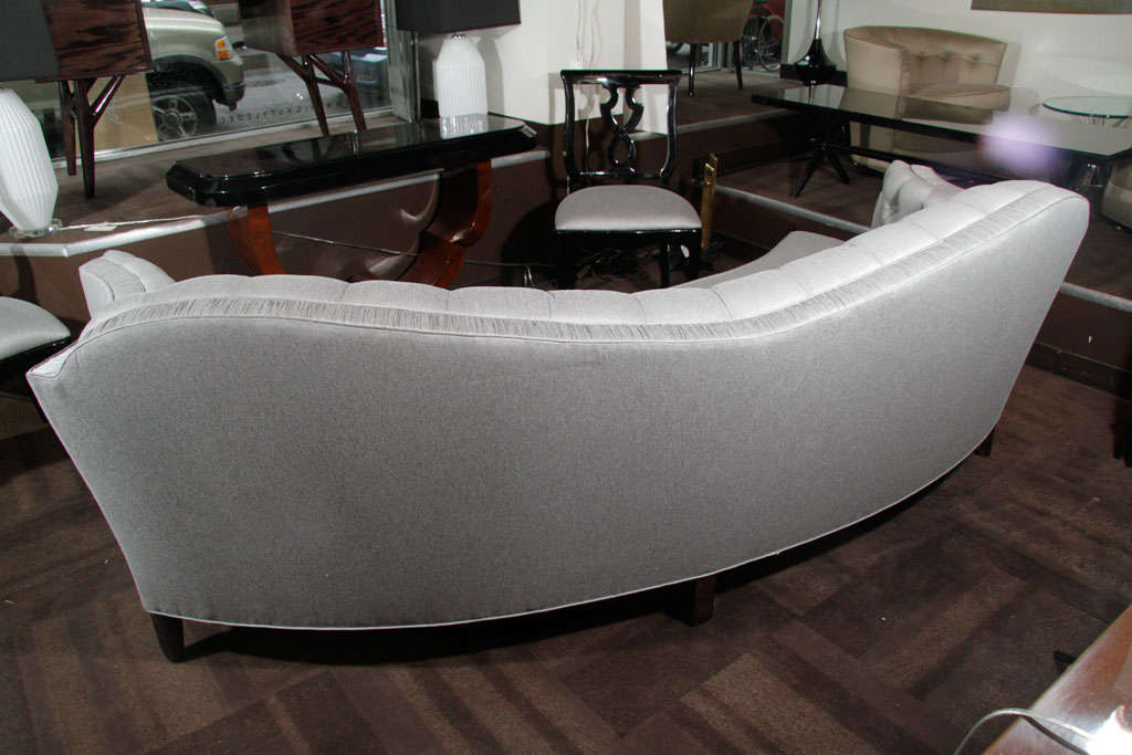 Glamorous 1940s Hollywood Curved Back Sofa For Sale 6