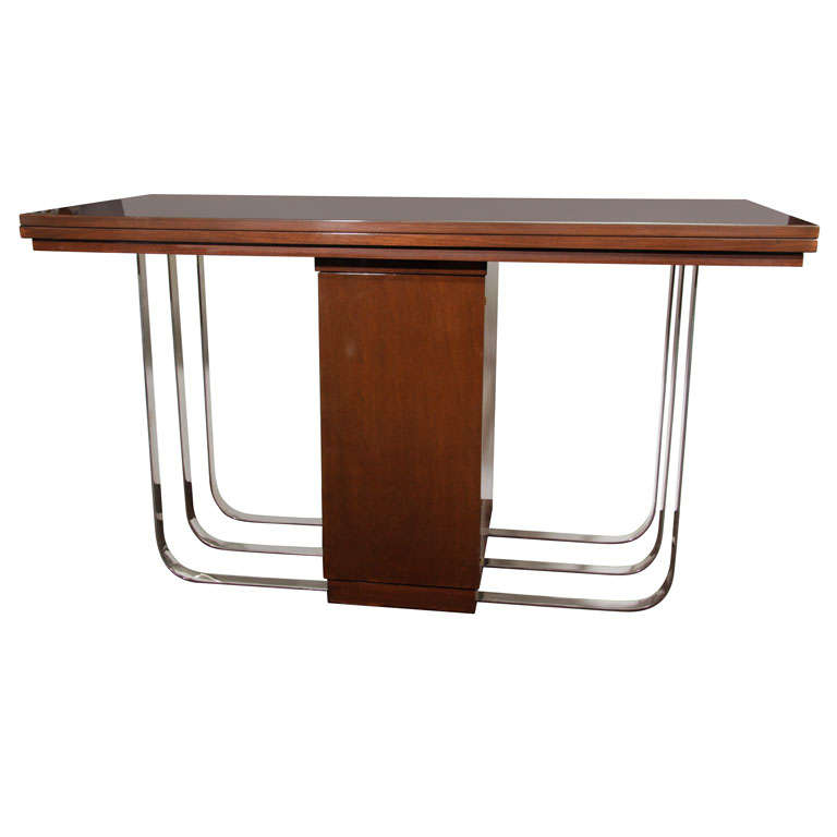 Art Deco Wood Dining Room Table Curved Base