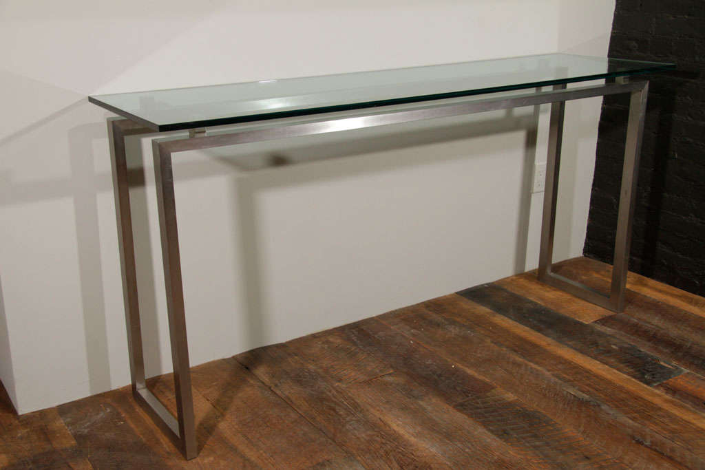 Brushed metal console table with glass top at 1stdibs for Metal and glass console tables