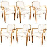 Set of Six Art Deco Armchairs by Leleu