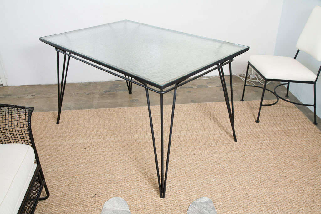 metal and glass dining table indoor or outdoor at 1stdibs. Black Bedroom Furniture Sets. Home Design Ideas