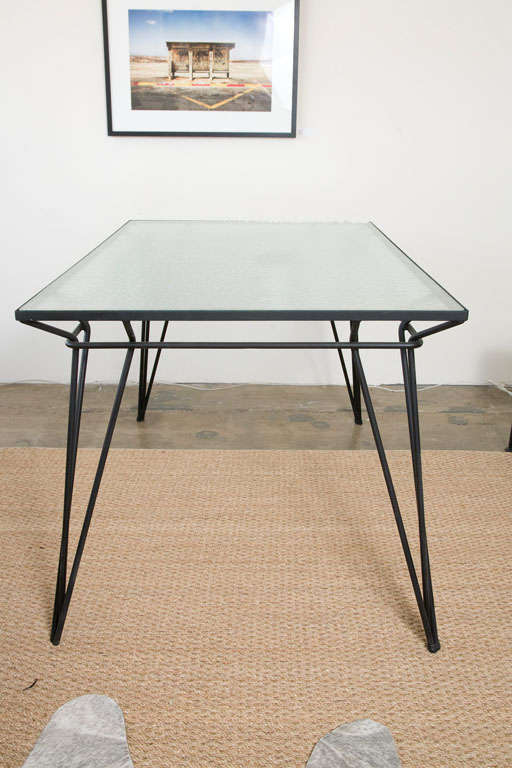 metal and glass dining table indoor or outdoor at 1stdibs